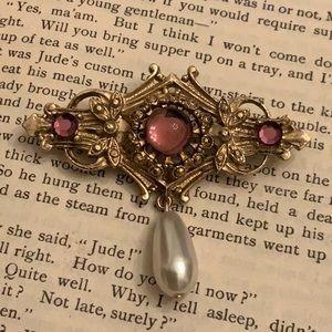 Vintage Art Nouveau Brooch Dangled Teardrop Pearl